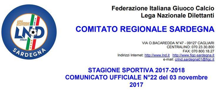 SCRIVOQUANDOVOGLIO: CALCIOSARDO:COMUNICATO UFFICIALE NUMERO 22 FIGC SA...