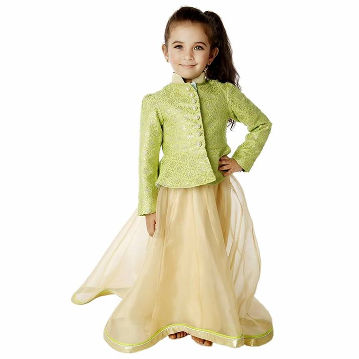 Modern brocade blazer with organza skirt in the ethereal combination of lime and gold would ensure your little one sparkles this festival season. Signup today and get Flat 20% off on your first order.
