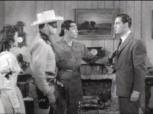 Clayton Moore, Craig Stevens, Marjorie Lord, and Jay Silverheels in The Lone Ranger (1949)