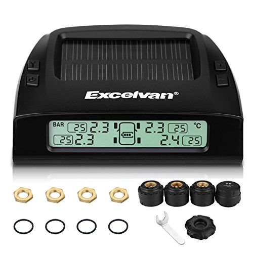 Excelvan Wireless Solar Rechargeble Digital LED Tire Pressure Monitoring System TPMS with 4 External Sensors Pressure Range 0~6 Bar (0~87 Psi). For product info go to:  https://www.caraccessoriesonlinemarket.com/excelvan-wireless-solar-rechargeble-digital-led-tire-pressure-monitoring-system-tpms-with-4-external-sensors-pressure-range-06-bar-087-psi/