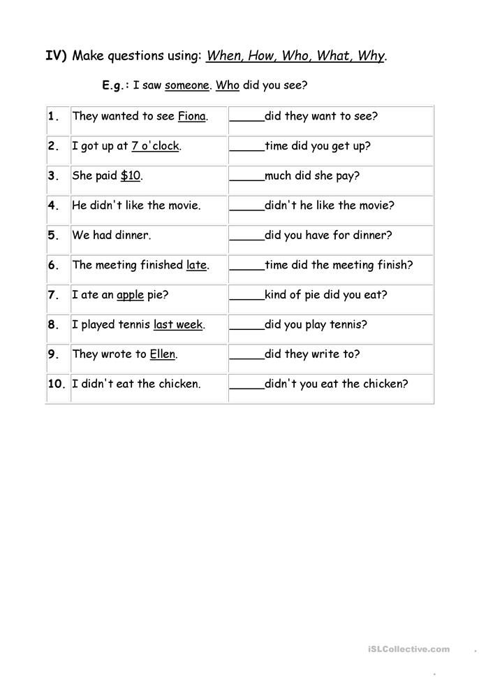Exercises Wh Question Words Worksheet Free Esl Printable Worksheets Made By Teachers Wh Questions Worksheets Wh Questions English Worksheets For Kids Wh questions worksheets