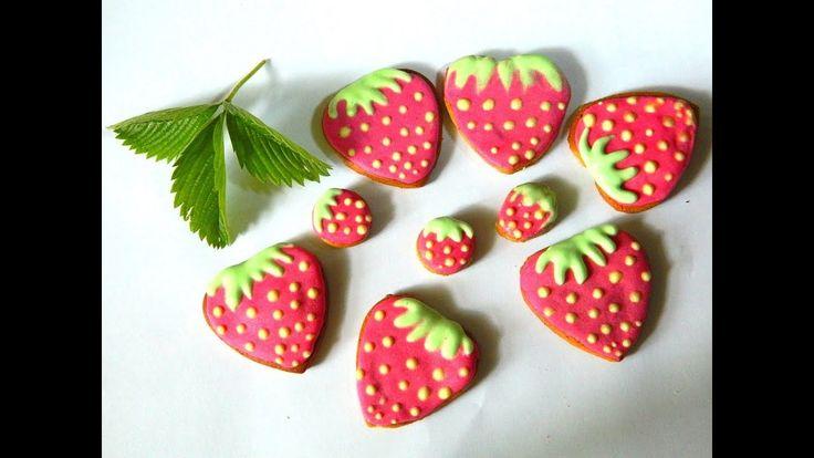 🍓 How to decorating gingerbread strawberries / Как раскрасить пряники-кл...