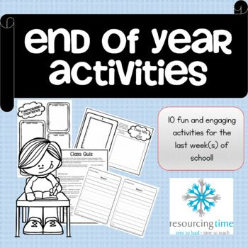 Engaging activities for the end of the school year! This resource has 10 different activities for you and your students and includes printables! Lifetime updates so you have the current year and any added activities at the end of every school year! ACTIVITIES • Memorable Moments - Students recall and write about their