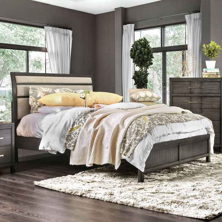 Furniture Of America Telke Brown/Grey Wood Contemporary Upholstered  Platform Bed (Cal King   Espresso), Size California King