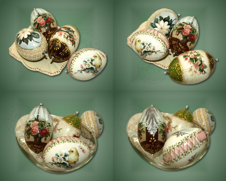 The different goose shells decorated using classic decoupage and decorative paiting elements.