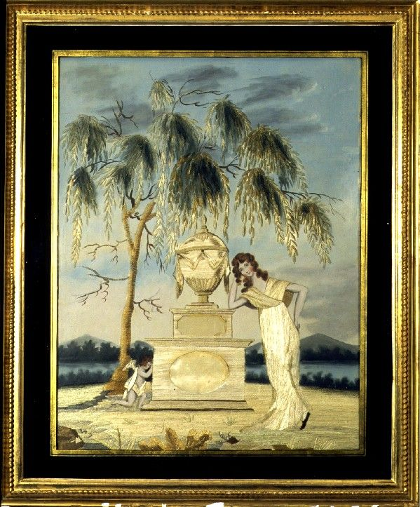 Sophia Barney wrought this Massachusetts silk embroidered memorial c.1810.  Silk embroidered memorials were very fashionable in the latter p...