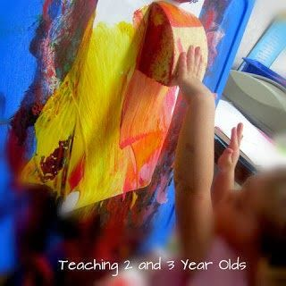 Teaching 2 and 3 Year Olds: Paint Activities for the Easel - big sponges