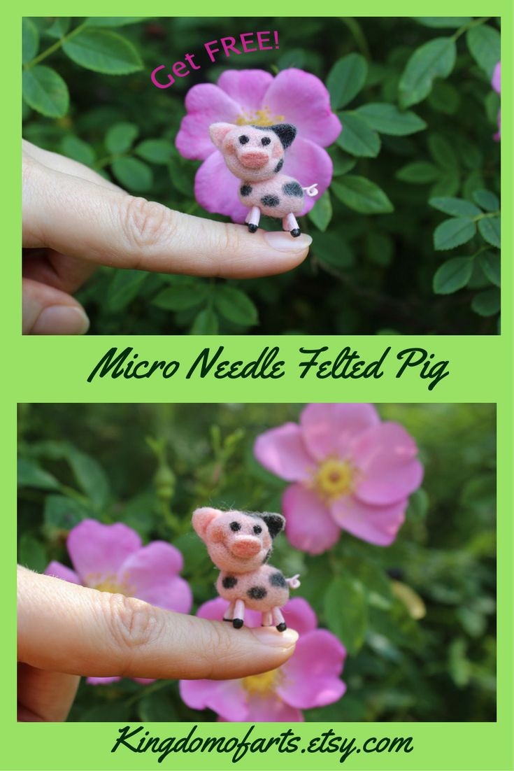 Funny small pig is made of 100% high quality merino wool. Legs and tail made of Velvet clay with iron frame inside, painted with acrylic, and the surface is varnished | pig micro micro animals felted animals felt dollhouse miniatures piglets  pig mini pig miniature handmade gifts handmade toys dollhouse miniatures1:12 felted wool crafts cute needle felting