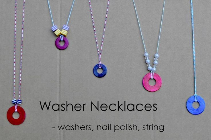 """washer necklace - Originally recommended as """"useful library craft,"""" but it would be a great boredom buster, too."""