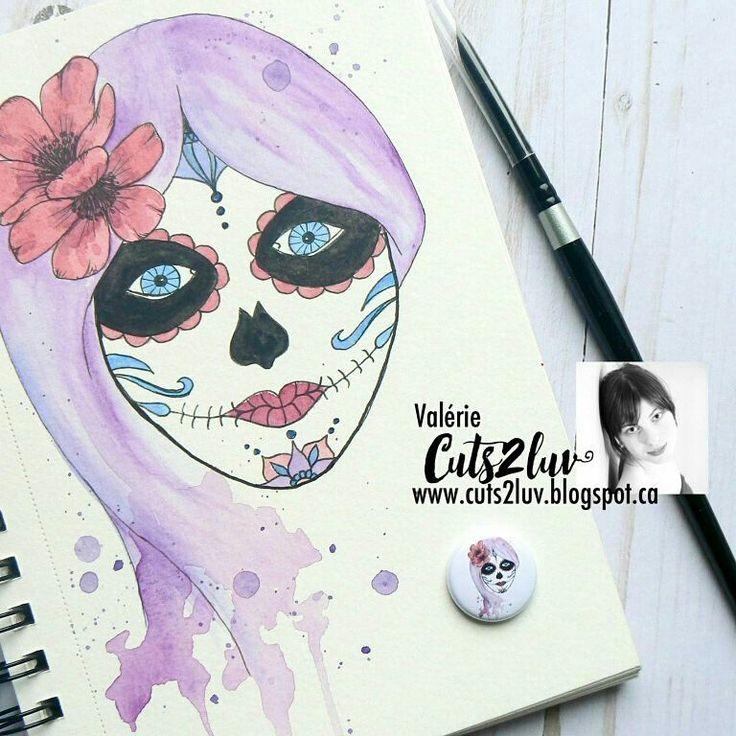 Watercolor girl Los muerte Cuts2luv flair