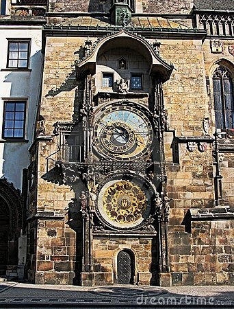 ASTRONOMICAL CLOCK, OLD TOWN SQUARE, PRAGUE - The clock was first installed in 1410, making it the third-oldest astronomical clock in the world and the oldest one still working.  4 figures flanking the clock are set in motion at the hour, representing 4 things despised: 1st Vanity (a figure admiring himself in a mirror), next the miser (holding a bag of gold represents greed or usury.  Across the clock Death (a skeleton),  last the Turk (pleasure and entertainment).
