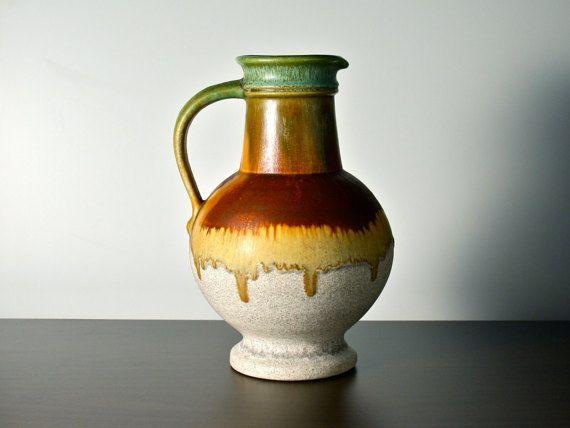 West German pottery. Large jug vase Ü-Keramik by AnEyeOnStyle