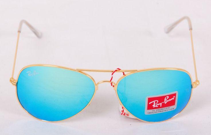 Солнечные очки Ray-Ban Aviator (Авиатор RB 3025) золотистая оправа, светло-голубые зеркальные поляризованные стекла хамелеон #20041