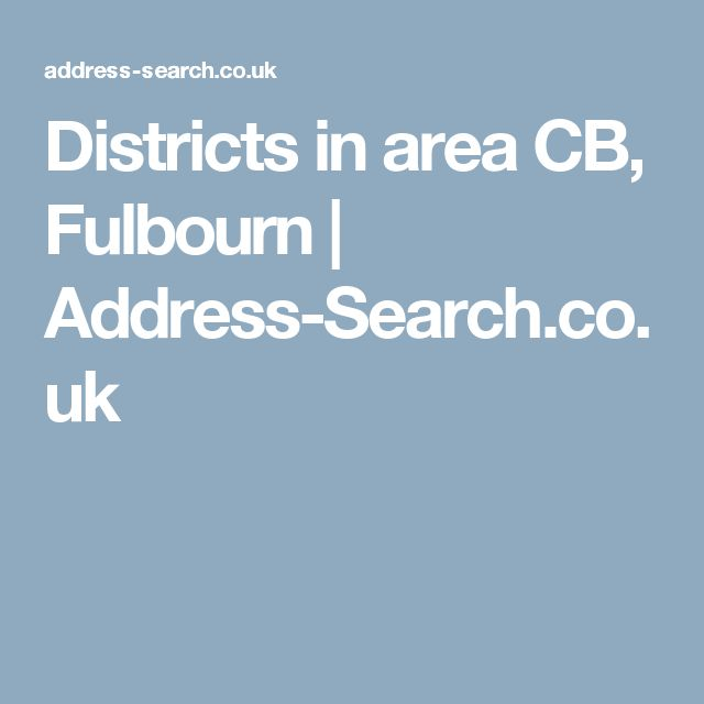 Districts in area CB, Fulbourn | Address-Search.co.uk
