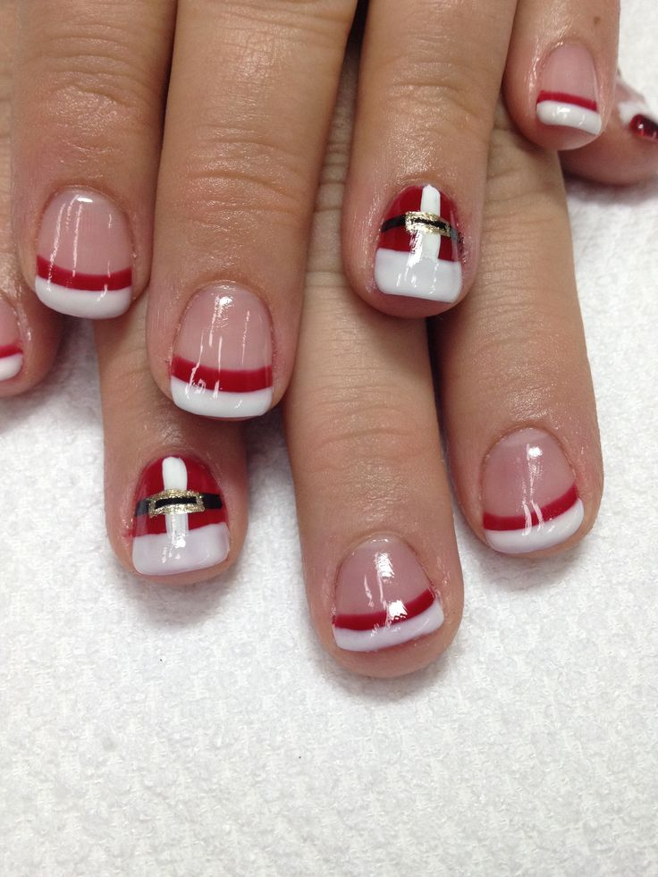 Christmas Holiday nails!! How awesome are these Santa suit and Santa hat!!?? All odorless gel used! What an awesome glittered Santa hat too!