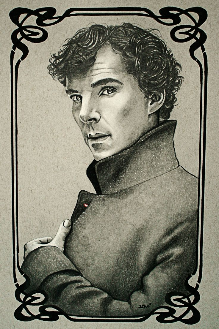 Benedict Cumberbatch, as Sherlock with art deco frame. White Conté Pastel and Staedtler graphite pencils of various hardnesses on Strathmore toned gray paper.