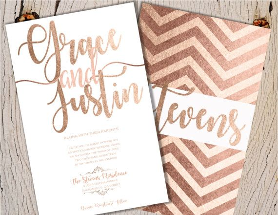 blush gold wedding invitations rose gold wedding by joyinvitations - Rose Gold Wedding Invitations