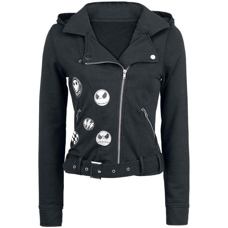 Biker Style Jacket - Girls hooded zip by The Nightmare Before Christmas - Article Number: 251732 - from 51.99 £ - EMP Mail Order UK Ltd. ::: The Heavy Metal Mailorder ::: Merchandise, Shirts and more!