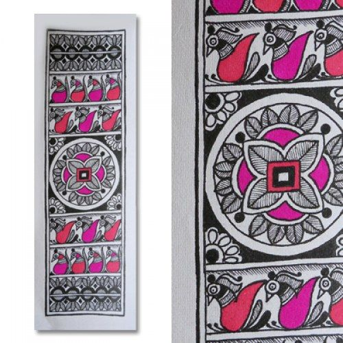 Dichromatic Madhubani painting featuring birds