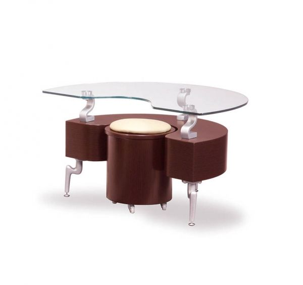 T288 Series Mahogany Silver MDF Wood PVC Metal End Table