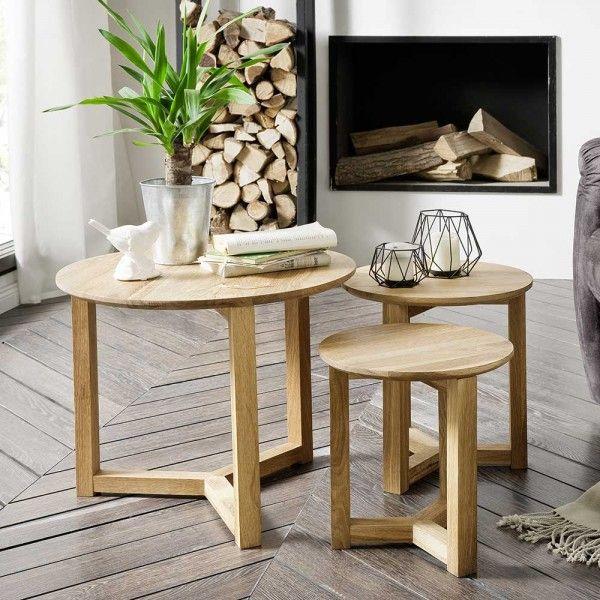 Massivholz Beistelltisch Lucilla Mit Bildern Beistelltisch Rund Holz Beistelltisch Eiche Tisch