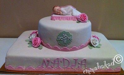Baby girl christening cake Doptårta flicka - emmabakad.blogg.se