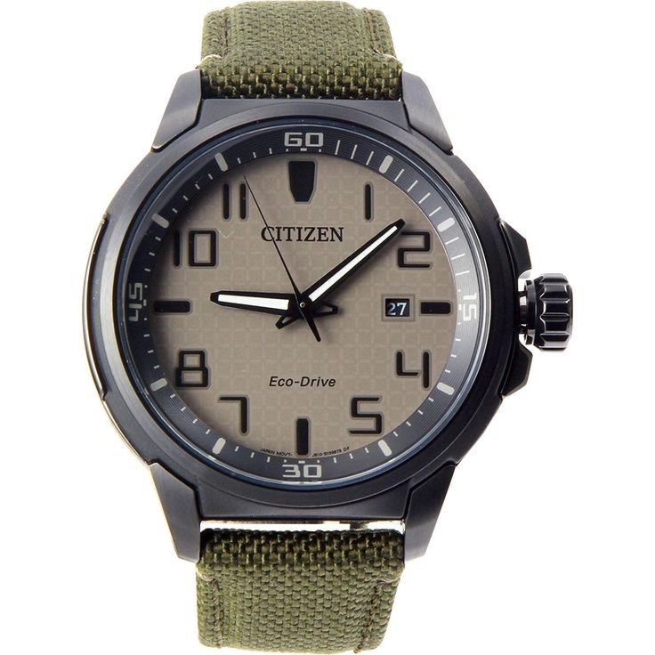 $235.00 Citizen AW1465-14H Men's Eco DRIVE AR Military Green Fabric Band Analog Watch