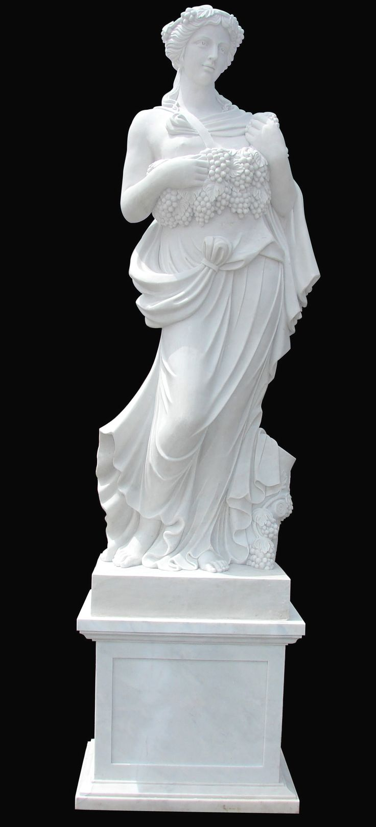 Marble Statues | White Marble Statue Of A Woman Holding Grapes In Her  Hands. This. Garden StatuesGarden SculpturesStatue ...