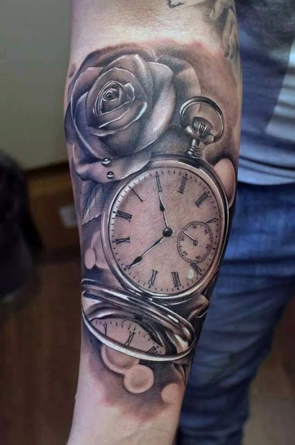 Pocket Watch Tattoo on Forearm by Emilio Winter