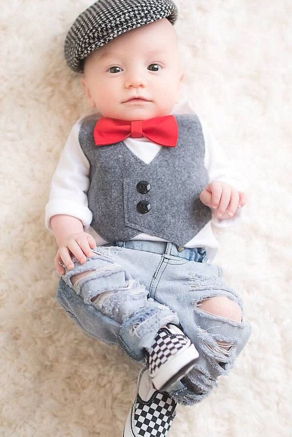 **PLEASE READ CURRENT TURNAROUND TIME BEFORE ORDERING!!!** IT CAN BE FOUND HERE - https://www.etsy.com/shop/SewLovedBaby/policy?ref=shopinfo_policies_leftnav  **Available in short or long sleeve!  This listing is for a bodysuit with a Grey vest and removable bow tie of your choice. This outfit would be perfect for a photo shoot, Holiday, Birthday, or even a Wedding! The bow tie will come with a snap closure that attaches to the shirt so it can be removed for washing, car rides, meals, etc…
