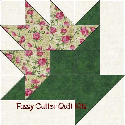 "Flower Basket - 10"" block - 4-7/8 Half Square, 2 7/8 Sm half square. 2 1/2 square. 2 1/2 X 6 1/2 rectangle"