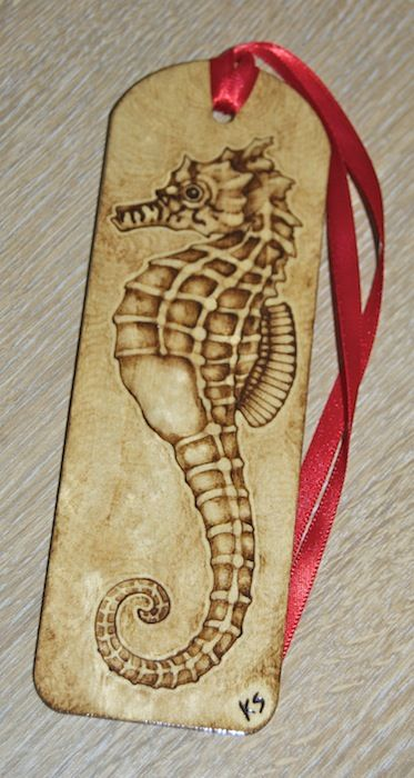 Seahorse pyrography bookmark by ~BlueMidna