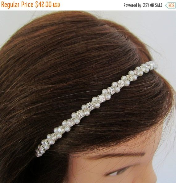 SALE Bride Headband. Bridal Pearl Headband. Rhinestone by JamisyJo