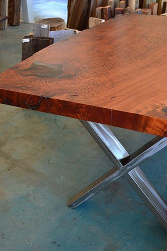 Redwood Slab Table With Steel X Legs Furniture