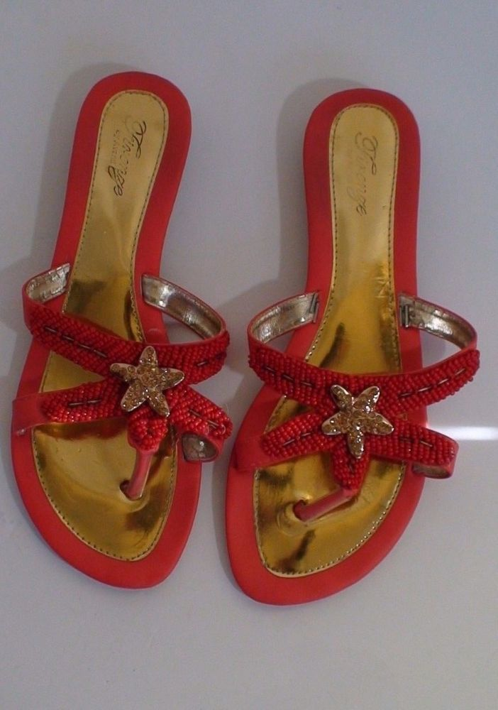 Coral Orange Rhinestone Starfish Flip Flop Sandals Women's Size 38 #Avanti #FlipFlops