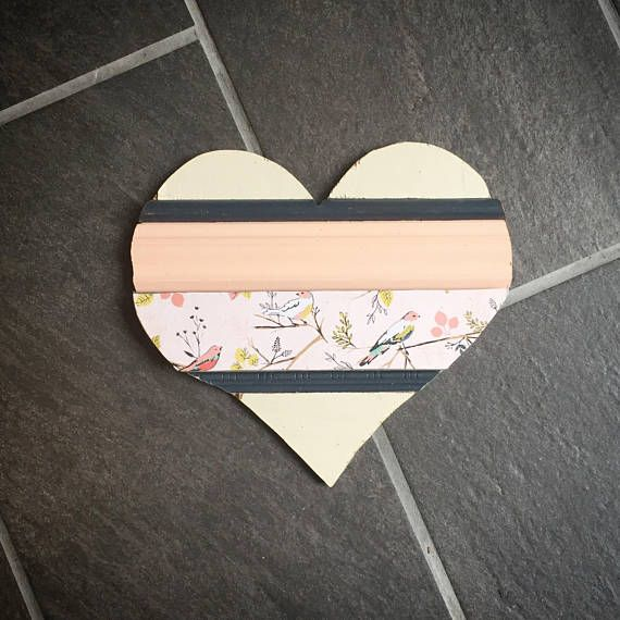 Custom girls nursery decor. Woodland rustic girls room or nursery. Blush pink and navy, birds. Reclaimed wood trim heart decoration. Hellolovehellolife.