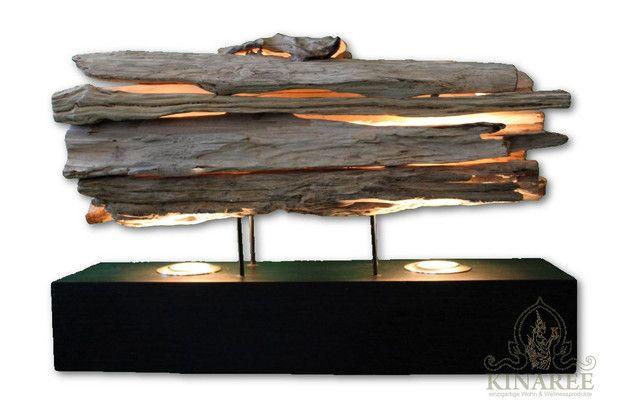 Tischlampen - Tischlampe Treibholz 60cm mit 2 Spots - ein Designerstück von Kinaree-de bei DaWanda