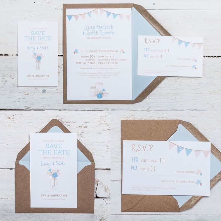 BEAUTIFUL BUNTING Wedding Stationery Collection. Available in ANY COLOUR! 'Beautiful Bunting' is exactly that… simple streams of bunting, jars of loose natural bouquets and fashionably flawed fonts to give the design a home-made, rustic feel. It lends itself well to any colour scheme, making it perfect for a vintage themed wedding. If you have any questions or to find out about the available products in this collection and their prices, please visit the website.