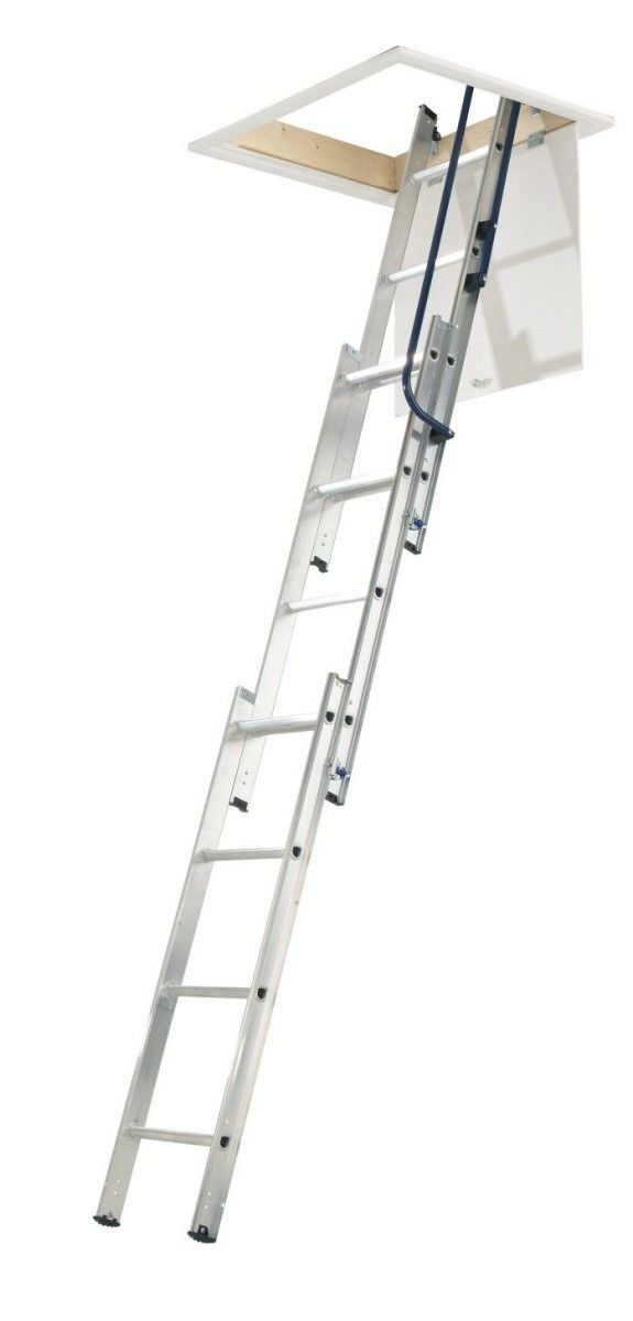 Abru Blue Seal 3 Section 'Easy Stow' Loft Ladder -- Manufactured from aluminium, the 3 section sliding loft ladder suits a floor height up to 3000mm. Comes spring assisted allowing the user to have total control over the lowering and stowing process. It is also supplied with one metal handrail (blue colour), operating pole, door catch & hinges. # £95.00 + VAT