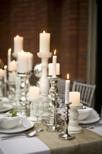 Table center pieces: maybe get thrift store candle sticks and paint them the colors I want