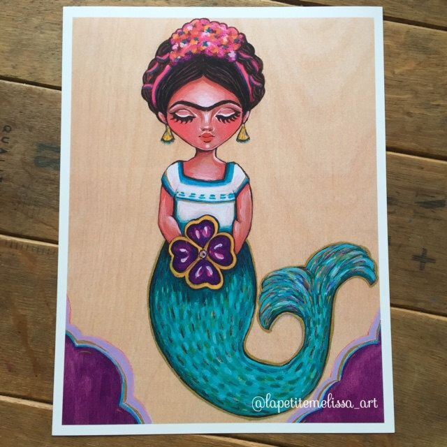 Frida Sirenita (Little Frida Mermaid)- Frida Kahlo inspired illustration, whimsical art print by Melissa Victoria Nebrida by LaPetiteMelissa on Etsy https://www.etsy.com/listing/238810026/frida-sirenita-little-frida-mermaid