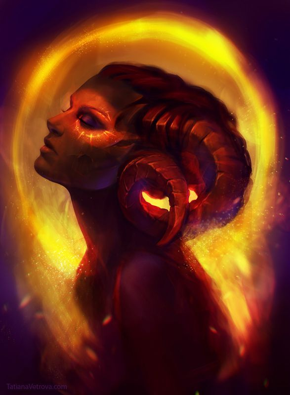 "Only one female satyr has ever lived. Rather than revering her as the mother of their race, the satyrs curse her for bringing them into the world. (""Golden dust"" by ~Vetrova on deviantART)"
