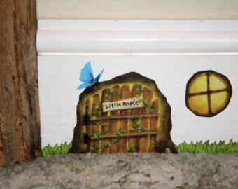 Pink Cottage Fairy Door wall sticker/decal by StickersfromLola