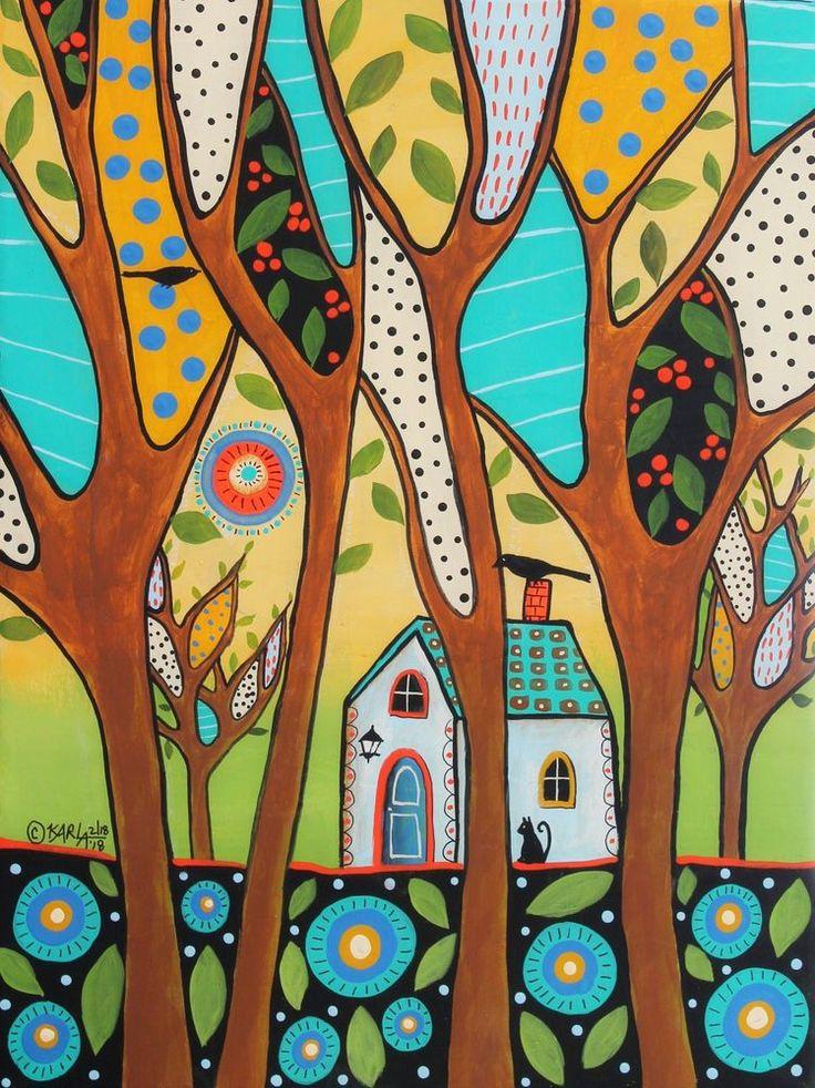 Whispering Trees 12x16 ORIGINAL CANVAS PAINTING birds cat FOLK ART Karla Gerard #FolkArtAbstractPrimitive