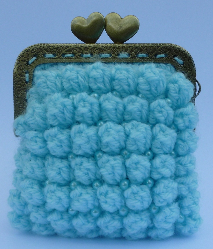 BOBBLE STITCH crocheted coins purse