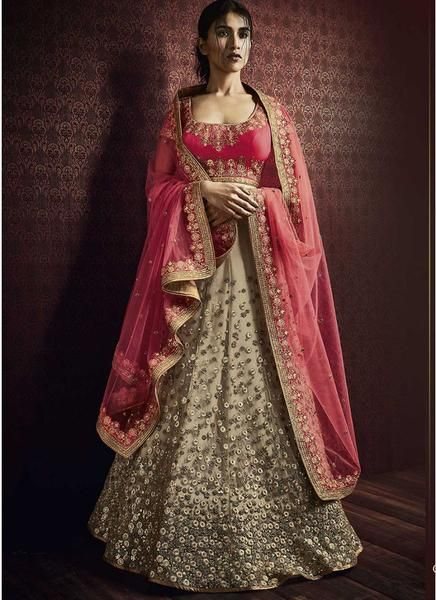 Pink and Beige Embroidered Net Lehenga