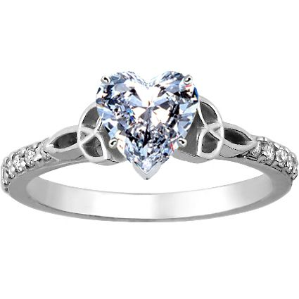 This is their white gold Luxe Celtic Love Knot Ring with an adorable heart-shaped center stone. This Celtic symbol represents two souls bound by their love, and is complemented by a delicate band of shared prong-set diamond accents. This particular ring is a super sweet twist on traditional Claddagh ring.