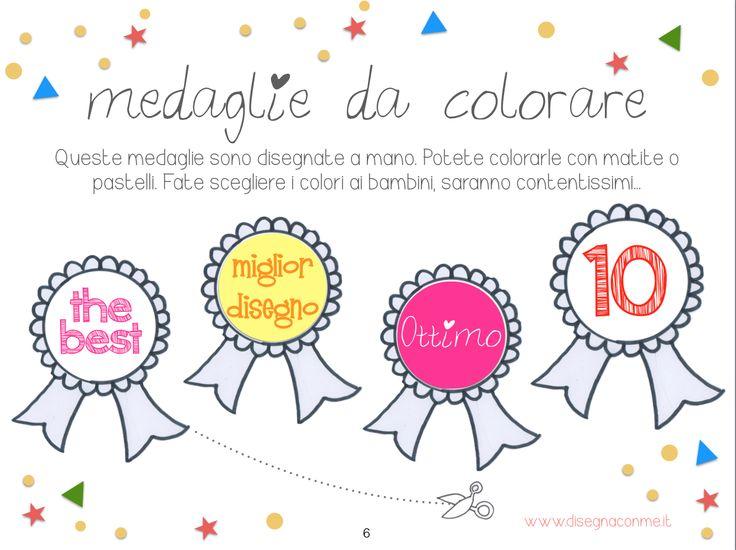 """#Medaglie da ritagliare e colorare per premiare i #disegni del tuo #bambino. Tratto dall'e-book """"Medaglie per disegni"""" di #disegnaconme. (www.disegnaconme.it)"""