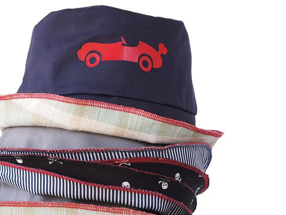 Boys Summer Hat Boys Sun Hat Toddler  Hat Race Car Hat Navy Blue Double Sided Hat Free Shipping International - $25.00