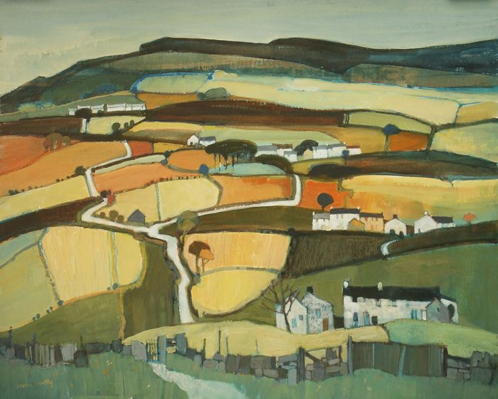 Moira Huntly. Great Fryup Dale, Yorkshire. Mixed Media. 53x70cm. Marine House at Beer